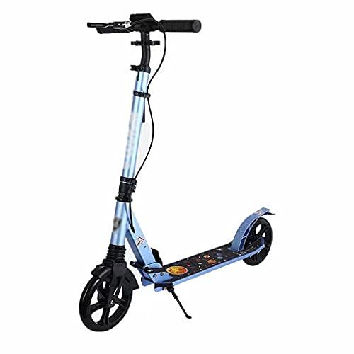 SJZD Scooter Plegable para niños Adultos Scooter Deportivo Boy Freestyle Scooter 3 Ruedas Grandes con Funda de Goma Antideslizante Ajustable en Altura (Azul)