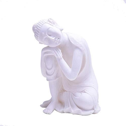 Escultura Decoración Estatuas Figuritas Escultura Figuritas Decorativas Estatuas Estatua De Buda De Piedra Arenisca Blanca Yoga Mandala Imagen De Buda Esculturas Accesorios De Decoración Del Hoga