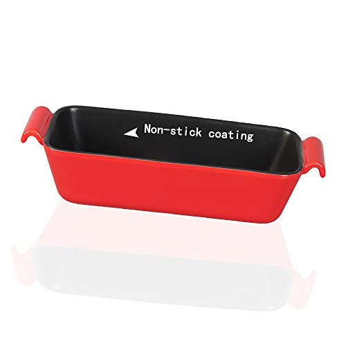 Non-Stick Ceramic Loaf Pan, Rectangular Bread Pan With Handle Lasagna Pan Baking Dish for Oven Baking, Red -JH JIEMEI HOME
