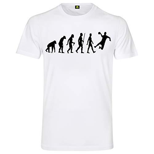Evolution Handball T-Shirt | Handballer | Handballspiel | Sport | Werfen Weiß L