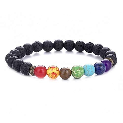 Generic Men Women 8mm Lava Rock 7 Chakra Bracelet Elastic Natural Stone Yoga Beads