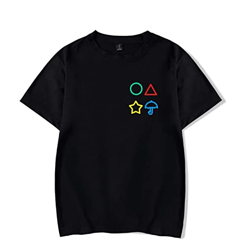 Camiseta de manga corta para disfraz de coreano de Squid Game Cosplay, unisex, para adultos, hombres y mujeres, Negro , L
