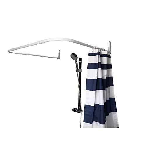 Erica Winkelstange Dusche 85x95x85 cm, Winkelstange Duschvorhang, Wandmontage ohne Deckenbefestigung, Weiß PVC-freier Kunststoffbeschichtung, 100prozent Rostfrei