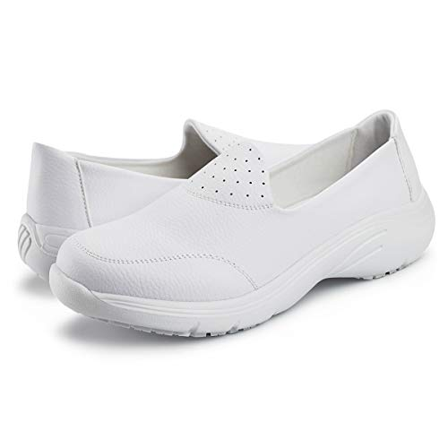 Hawkwell Women's Lightweight Comfort Slip Resistant Nursing Shoes,White PU,9 M US