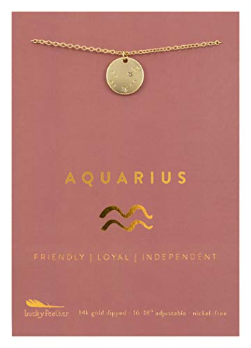 "Lucky Feather Aquarius Gift Zodiac Sign Constellation Pendant Necklace for Women, 14K Gold-Dipped with Adjustable 16"" – 18"" Chain"