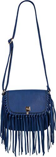 styleBREAKER Damen Umhängetasche mit Fransen und Steckverschluss, Schultertasche, Fringe Bag, Crossbody Bag 02012300, Farbe:Royalblau