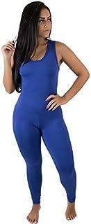Macacão Em Suplex Longo Feminino Fitness Azul