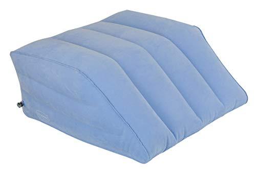 ObboMed HR-7740 mit Sicherheitsventil Aufblasbares Bein-Fußruhekissen, Bettkeilkissen für Fußauflage, Entspannt Fuß und Beine, zur Nachbehandlung; Hellblau - Aufgeblasen Größe : 60 x 53 x 23 cm