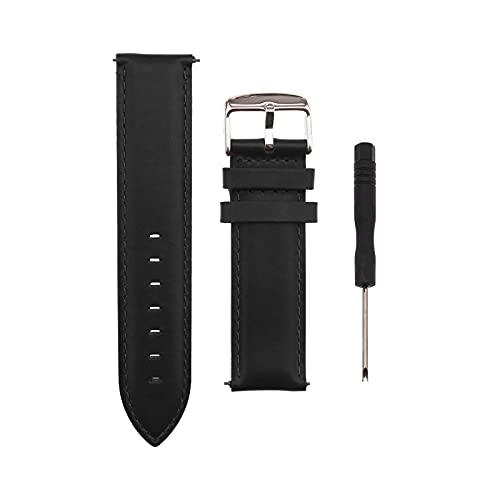 Reloj de pulsera de piel de 22 mm, correa de repuesto ajustable, correa de reloj inteligente clásica con pasador de liberación rápida, compatible con Samsung Galaxy Fossil Huawei, color negro