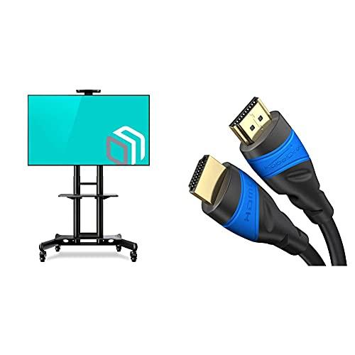 ONKRON TV-Ständer für Bildschirme von 40 bis 70 Zoll (100 x 100 – 600 x 400 mm) & KabelDirekt – 10 m – 4K HDMI-Kabel (4K@60 Hz für spektakuläres Ultra-HD-Erlebnis – High Speed mit Ethernet, schwarz)