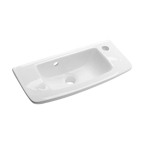 Renovators Supply Edgewood Small Wall Mounted Bathroom Sink 20 Inches White Ceramic Rectangular Basin Porcelain Coated Floating Bathroom Vessel Sink With Overflow And Single Faucet Pre Drilled Holes