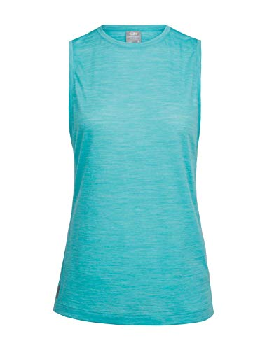 Icebreaker Merino Women's Sphere Muscle Tee Athletic T Shirts, Lagoon Heather, Small
