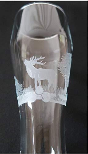 Weizenbierglas 0,3L Gravur Hirsch mit Baum und Erdreich Kisslinger Bierglas Weizenbier