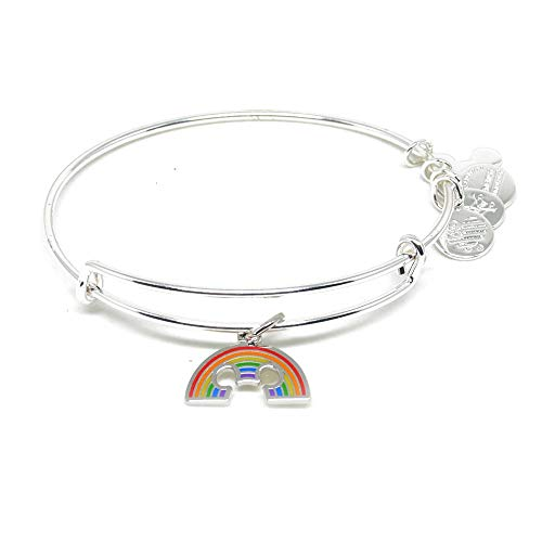 Alex and ANI Disney Parks Colorful Mickey Rainbow Bangle - Pride Bracelet - Charm Bracelet Jewelry Gift (Silver Finish)