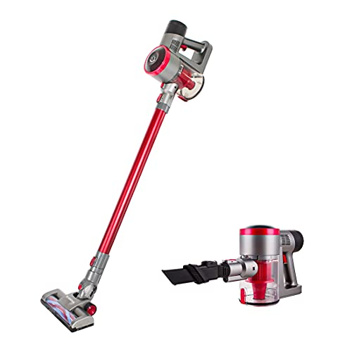 TC-JUNESUN Stick Cordless Vacuum Cleaner Brushless Quiet Suction Fast Charging Lightweight for Home Hard Floor Carpet Car Convenient Handheld (Red-Brushless)