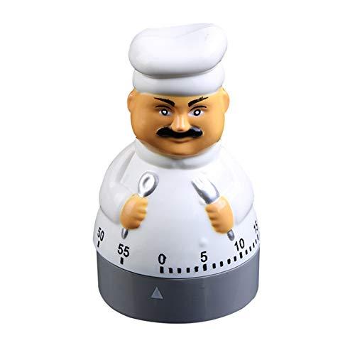 xMxDESiZ 60 Minuten niedlicher Chef formte mechanisches kochendes Küchentimer-Wahl-Wecker Weiß