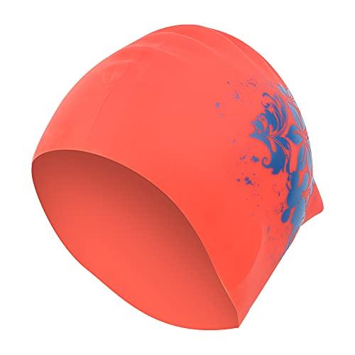 Touca de silicone para cabelo comprido, touca, mergulho para piscina(red)
