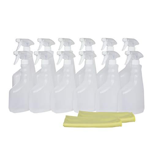 Botella pulverizador vaporizador de plástico. 750 ml. Rellenable para jardín, limpieza, industria, hogar y profesional. Resistente productos químicos. (12 Unidades+2 Bayetas, Traslúcido)