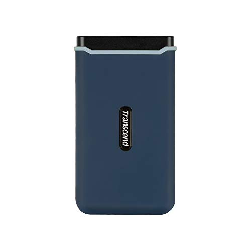 Transcend TS250GESD370C Ultra-Highspeed 250GB portable, leichte, externe SSD (≠HDD) USB Typ-C/A, Übertragung (bis 1050/950 MB/s) Speichererweiterung für Desktop-PCs, Laptops, Notebooks, PS4, Xbox blau
