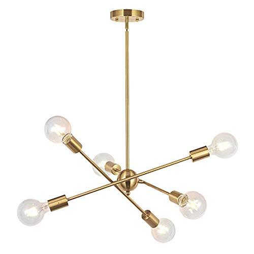 FEE-ZC Sputnik Kroonluchter, Eenvoudig Goud Kroonluchter Elegant Eenvoudig Fit Hanglamp Amerikaanse DIY Plafond Verlichting Kroonluchter voor Studie Eetkamer Bar Slaapkamer, Goud