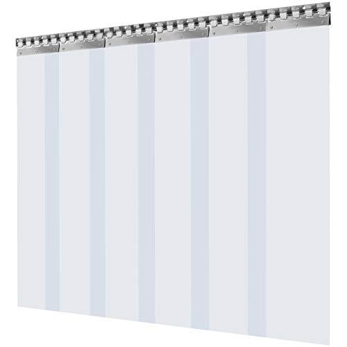 VEVOR Streifenvorhang PVC 1 x 2 m Lamellenvorhang mit 6 transparenten Streifen und Temperaturbeständigkeit kann Geräusche reduzieren, Innenräume warm halten, Schädlinge schützen für viele Bereiche