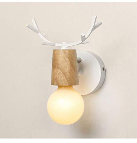Nordic slaapkamer creatief modern warm lief hanglamp restaurant bar decoratie hert zwart wit wandlamp dieren hout