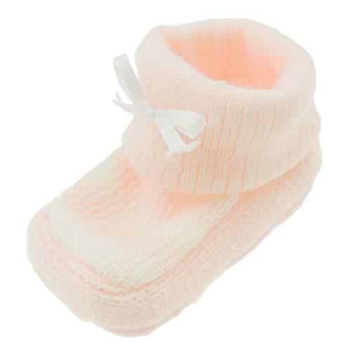 Chaussons d'hiver en tricot pour bébé - Motif rayures - Rose