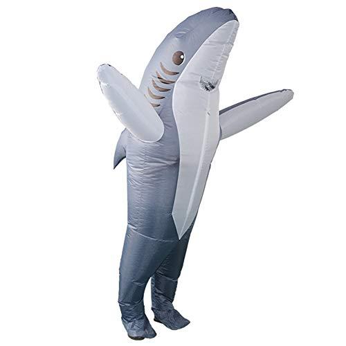 Sucpur Disfraz inflable de tiburón de cuerpo entero para Halloween, disfraz de adulto, disfraz inflable de Halloween, fiesta, cosplay, fantasía, carnaval, 160-190 cm