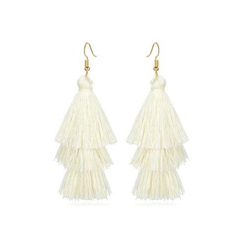 Pendientes de borla de gota larga y coloridos para mujer, diseño étnico