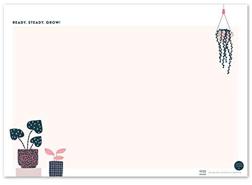 TYSK Design Schreibtischunterlage Pflanzen Blanko (Design wählbar) Tischunterlage aus Papier zum Abreißen DIN A3 to Do Liste Notizblock Wochenplaner