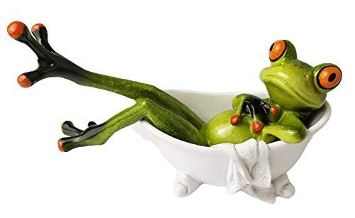 Frosch Ornament Statuen Dekor Lustiges Design Stuff, Feengarten Geschenk für Innen Draußen Zuhause Schreibtisch Badezimmer Dekoration Adorable Red Eyed Tree Frog Liegend in der Badewanne (13,5 cm)