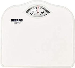 Geepas GBS4169 125 Kg Manual Bath Scale With height & weight index (White)