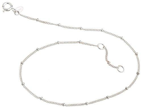 Cavigliera a maglie piatte con sfereda 1,3mm –lunghezza a scelta 23–30cm–in vero argento 925, argento, cod. 1235