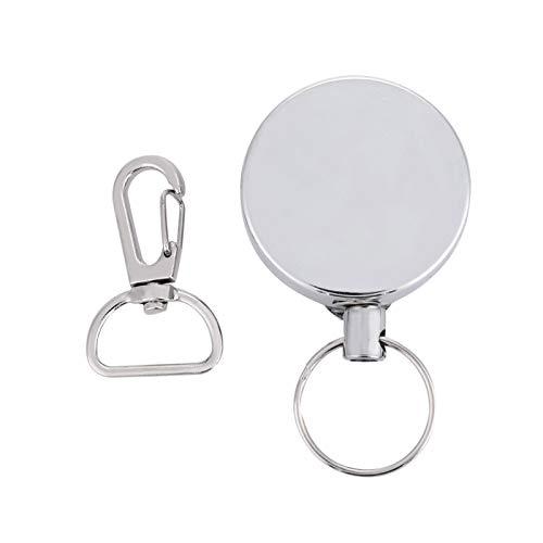 Porte-clés rétractable, outils de camping mousquetons, porte-clés en fil d'acier télescopique argenté de 4 cm porte-clés antivol anti-perte pour femmes hommes filles