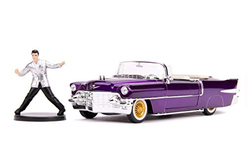 Jada Toys 253255011 1956 Presley Cadillac, Eldorado, Spielzeugauto aus Die-cast, Türen, Kofferraum & Motorhaube zum Öffnen, inkl. Elvis Figur, Maßstab 1:24, lila, Violett
