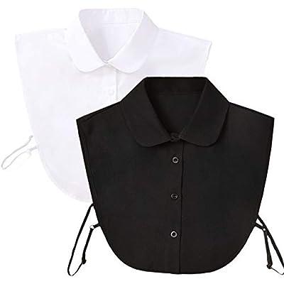 Shinywear Women Simple Doll Collar Shirt Detachable Lapel Peter Pan Half Blouse Vintage Classic Design for Decorative Sweater Costume(2pcs White Black Doll Collar)