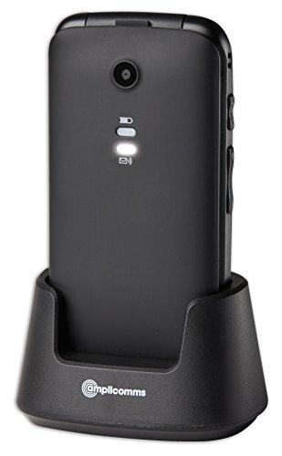 Amplicomms 907907 - Telefono per anziani, con tasto di emergenza, colore: Nero