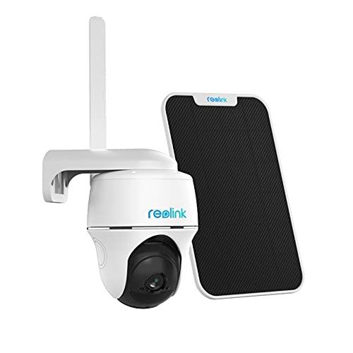 Reolink Telecamera di Sorveglianza Esterno 3G 4G LTE Pan Tilt Alimentata a Batteria o Energia Solare, Visione Notturna Starlight, Audio a 2 Vie, Sensore PIR, Senza Fili, Go PT con Pannello Solare