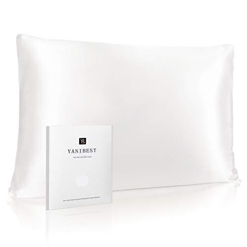 Yanibest Funda de almohada de seda para cabello y piel – 600 hilos, funda de almohada de cama de seda de morera con zíper oculto, tamaño King estándar, Queen, A-Ivory (blanco natural sin blanqueador)., Queen 20'x30', 1