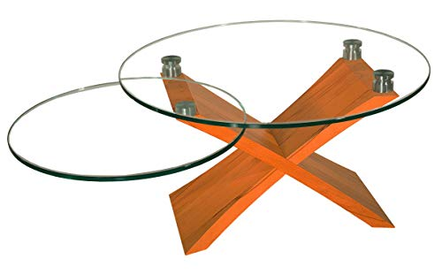 Melton6151-A tischdesign24 Exklusiver Couchtisch *Direkt ab Werk Solange Vorrat reicht* mit 12mm Glasplatte. Kreuzgestell in Kirschbaum Massivholz. Höhe 49cm Größe: 90cm rund mit schwenkbarer Ablage
