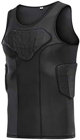 DGXINJUN Men s Padded Compression Shirt Training Vest 4 Pad Sleeveless T Shirt Ribs Back Protector product image