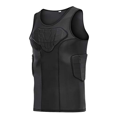 DGXINJUN Men's Padded Compression Shirt Training Vest (4-Pad) Sleeveless T-Shirt Ribs, Back Protector Tank- Football Soccer Basketball Hockey Protective Gear