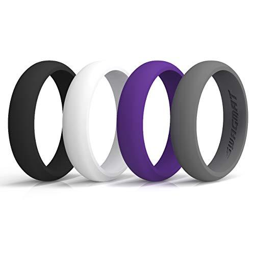 Swagmat Silicone Wedding Rings, 4 Pack Wedding Bands for Women (Black, Medium Gray, White, Purple, Size 6)