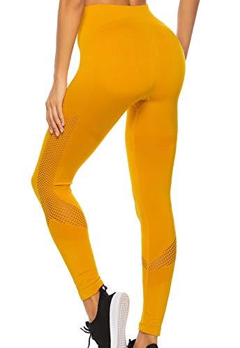 FITTOO Leggings Sin Costuras Corte de Malla Mujer Pantalon Deportivo Alta Cintura Yoga Elásticos Fitness Seamless #1 Amarillo Medium