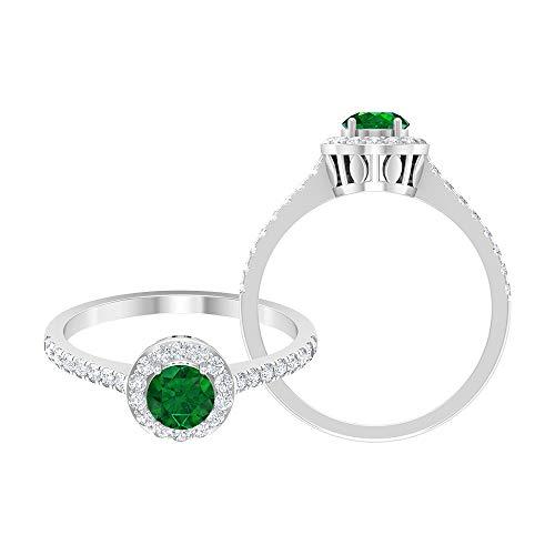 Piedra de nacimiento de mayo — 5,00 mm solitario esmeralda anillo con diamante HI-SI, anillo halo con piedras laterales, joyería de oro (calidad AAA), 14K Oro blanco, esmeralda, Size:EU 46