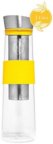 Teatox Ice Tea Maker Teeflasche mit herausnehmbarem Sieb | Glasflasche 1L, hitzebeständig & geschmacksneutral | hygienische Silikon- & Edelstahlteile | für Eistee | Wasserkaraffe & Infuser