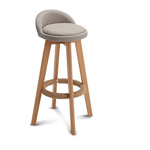 WYZQQ barstoel, 360 ° draaibaar, kruk van massief hout met vierkante poten, keukenkruk, vrijetijdsstoel, stoel van linnen/leer