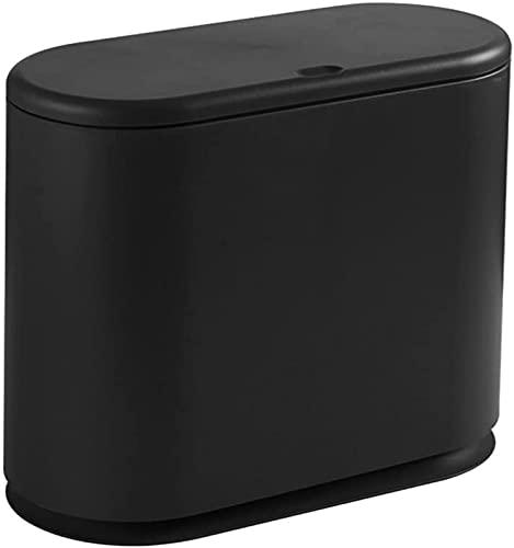 ZCRR Papelera para el hogar, sala de estar, dormitorio, pedal de inodoro, cubo de basura, baño con cubierta de papel (color: negro)