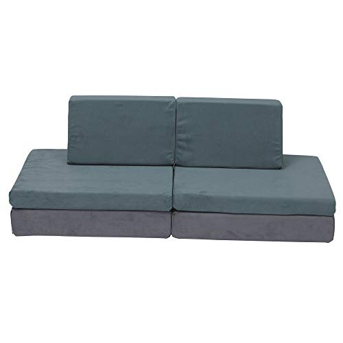 Children's Factory-CF349-067 The Whatsit Kids Couch, Toddler Playroom/Homeschool/Bedroom Furniture, Girls/Boys Sofa, Daycare/Classroom Flexible Seating, Gray/Jade