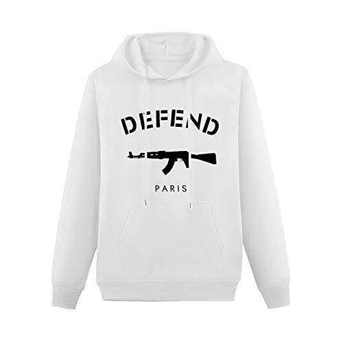 FUSHENG Defend Paris Ak47 Novelty Hoodie Funny Printed Pullover Hoodies Graphic Sweatshirts Hooded with Drawstring Pockets for Mens White 3XL
